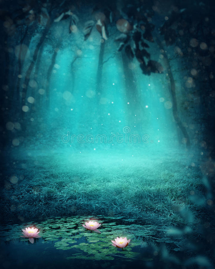 Dark magic forest. With a lake vector illustration