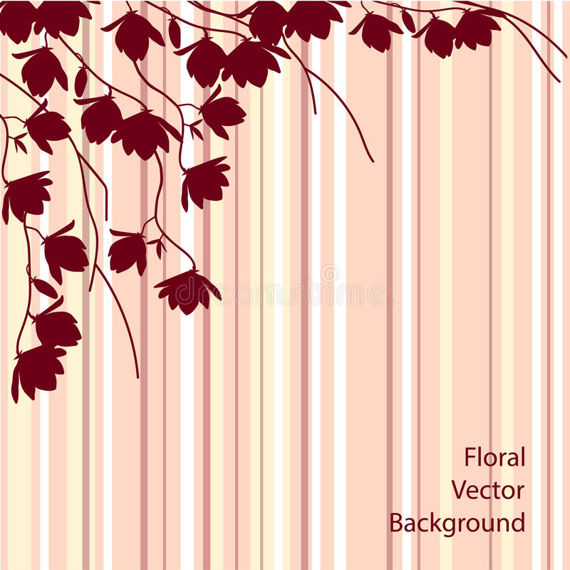 Dark magnolia branches on pink striped background. Floral vector illustration vector illustration