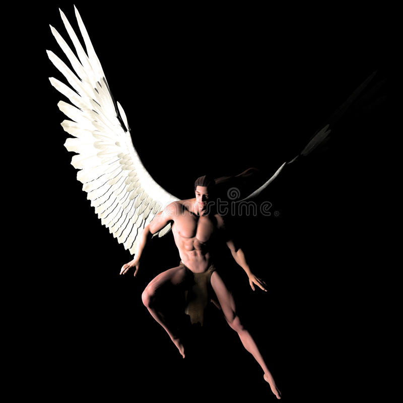 In the dark. A male angel in a pose stock illustration