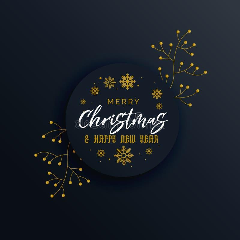 dark merry christmas premium greeting design with decorative element royalty free illustration