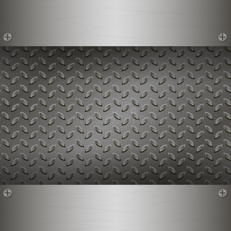 Dark Metal Background with plates and rivets. Brushed Steel, iron, aluminum surface template. Metallic grunge texture. Abstract techno vector illustration royalty free illustration