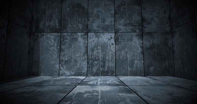 Dark Metal Room Background. A dark grungy metal room as a background royalty free stock images