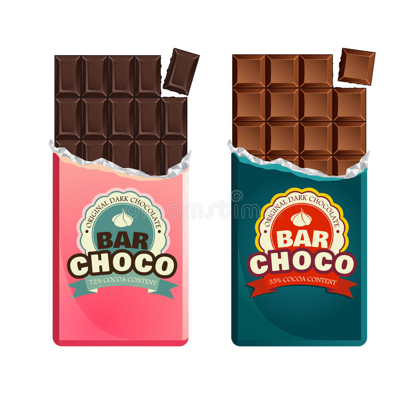 Dark and milk candy chocolate bars in vintage bar wrappers. stock illustration