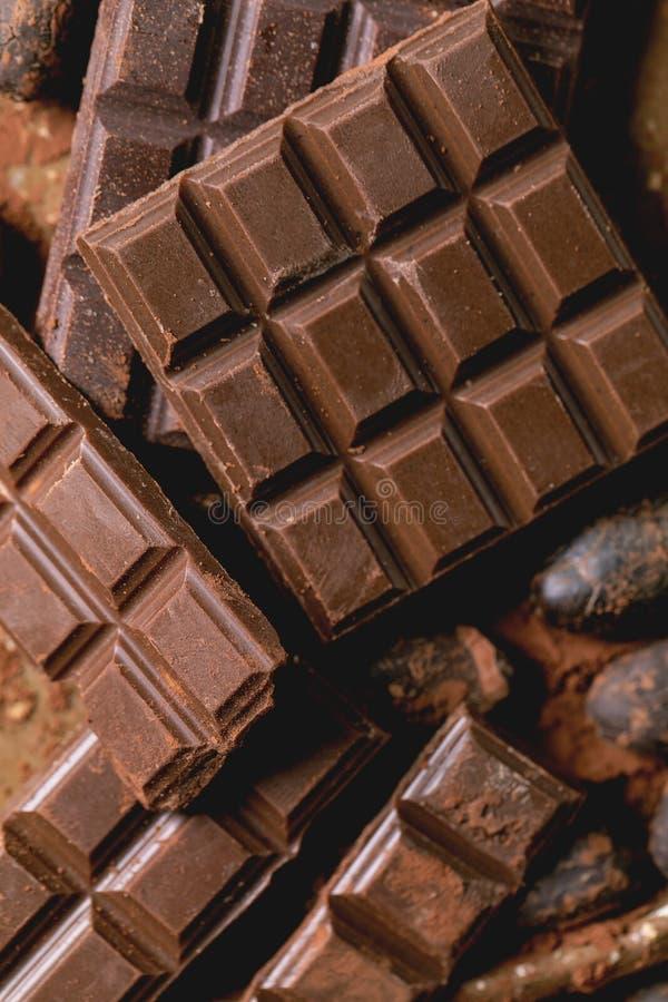 Dark chocolate with cocoa royalty free stock photo