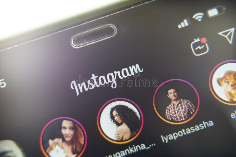 Dark mode instagram. Bishkek, Kyrgyzstan - October 8 2019: Close up of instagram app logo on iphone 11 in dark mode stock image