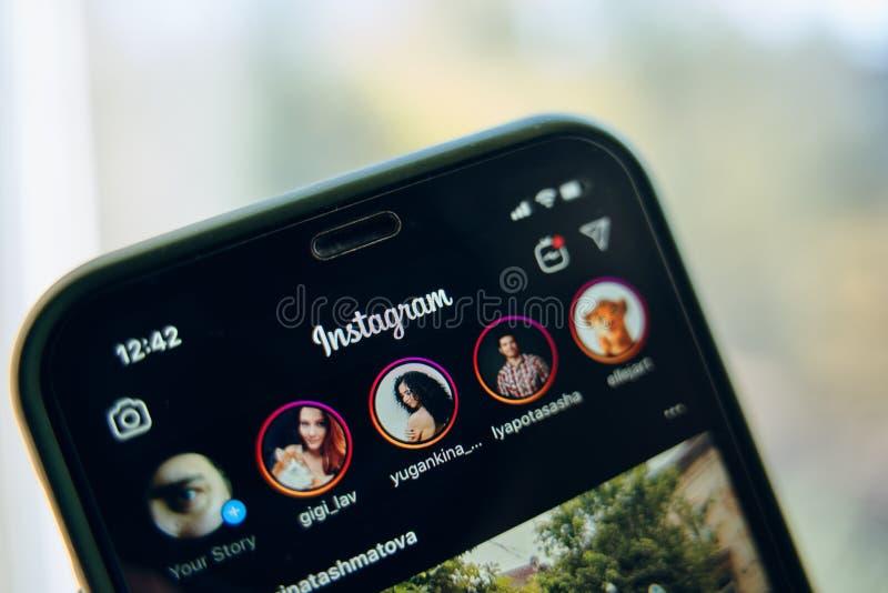 Dark mode instagram. Bishkek, Kyrgyzstan - October 8 2019: Close up of instagram app logo on iphone 11 in dark mode stock photos