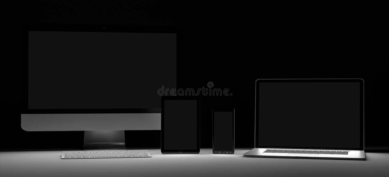 Dark modern computer laptop mobile phone and tablet 3D rendering royalty free illustration