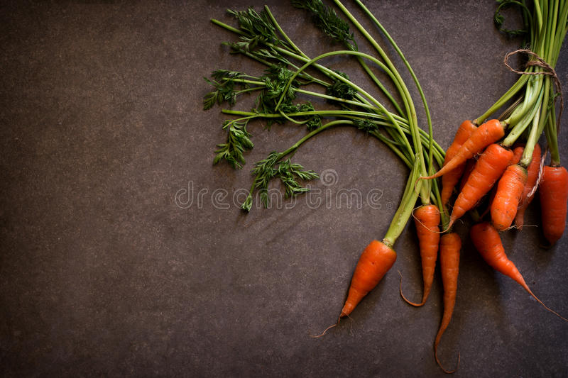 Dark moody food image of fresh carrot - still life photography. Clean food concept stock photos
