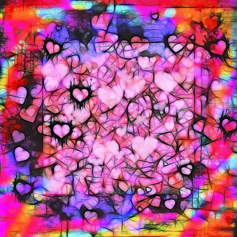 Dark moody grunge hearts abstract background. Valentines Day dark moody grunge hearts abstract background in pink, black, red, purple, turquoise, gold and orange stock illustration