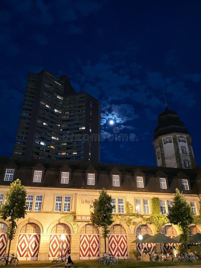 Dark Moon Light. Random night click of a building stock images