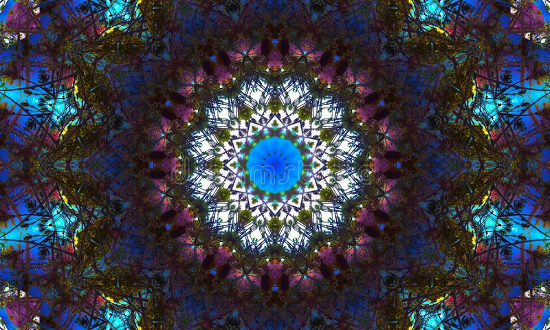 Dark mosaic mandala with colorful light effects. Kaleidoscopic Illustration: A dark mosaic mandala with colorful light effects and patterns royalty free illustration