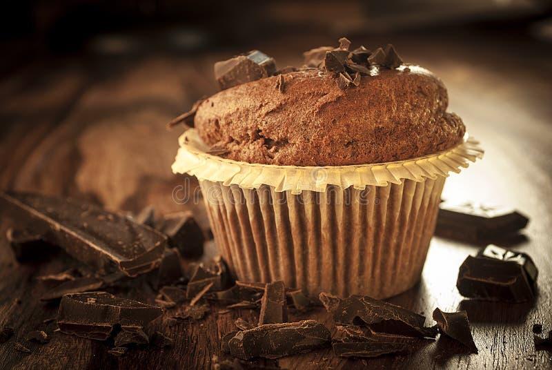 Dark muffin with chocolate