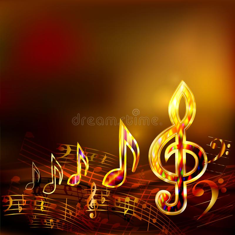 Dark music background with golden musical notes and treble clef stock illustration