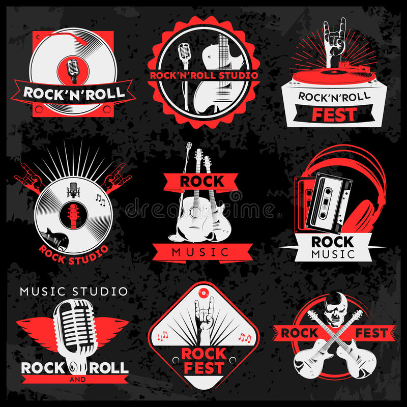 Dark Music Label Set royalty free illustration