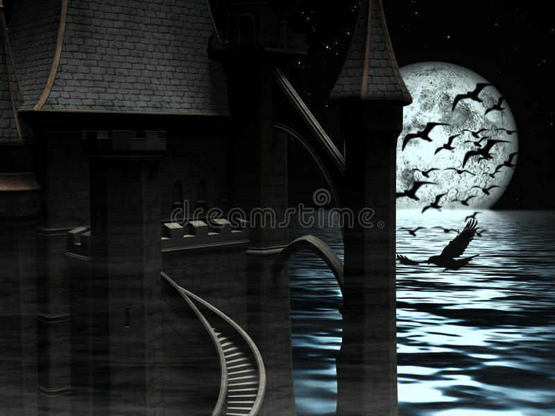 Dark Mysterious Castle at Moon background with Black Birds vector illustration