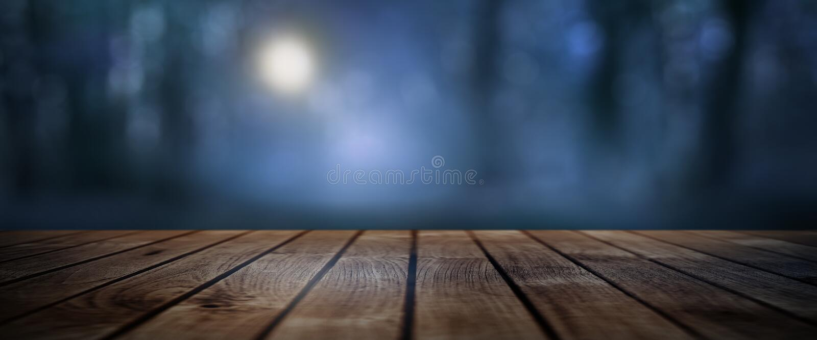 Dark mystical forest with rustic wooden floor stock photography