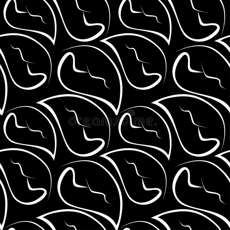 Dark nature pattern. Abstract pattern white silhouettes of leaves on black background. Seamless vector wallpaper stock illustration