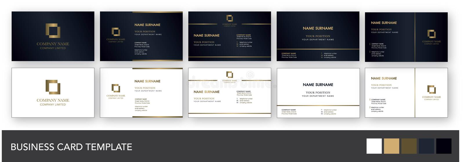 Dark Navy and Gold Business Card Template vector illustration