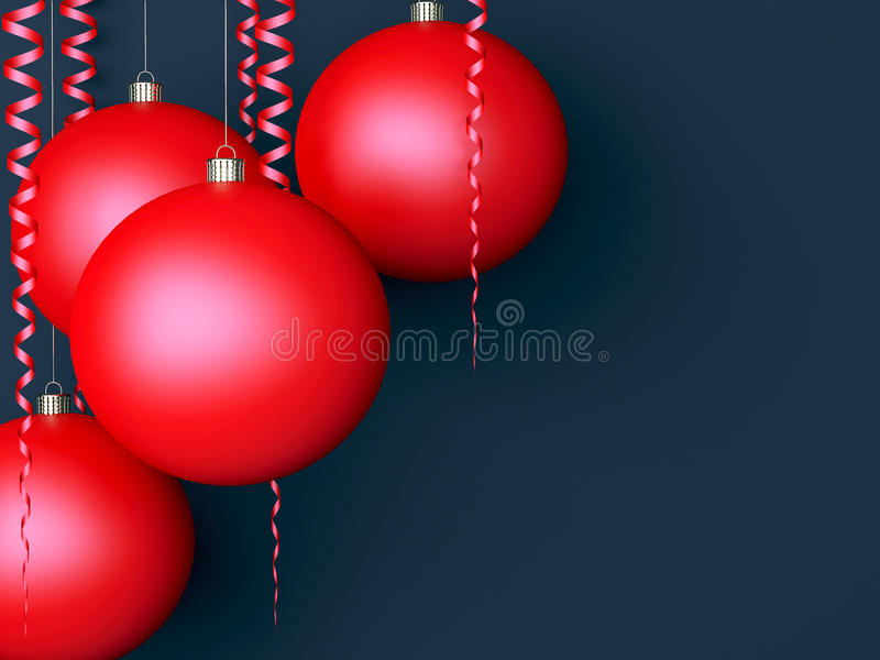 Dark New Year Background With Red Balls Stock Photos