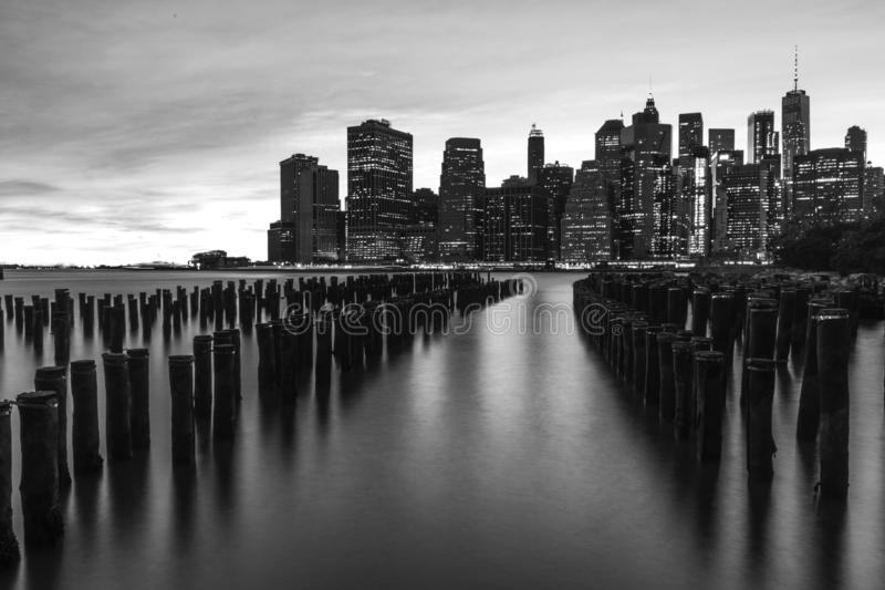 A dark New York. A view of New York with long exposure in black and white royalty free stock photos