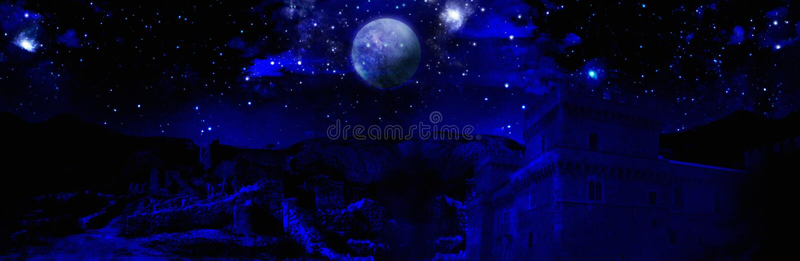 Dark night full moon. Dark night and full moon that illuminates a castle and medieval ruins