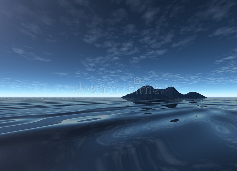 Dark Night Landscape with Distant Island. Dark Electric Night Scenery with Distant Island Mountain stock illustration
