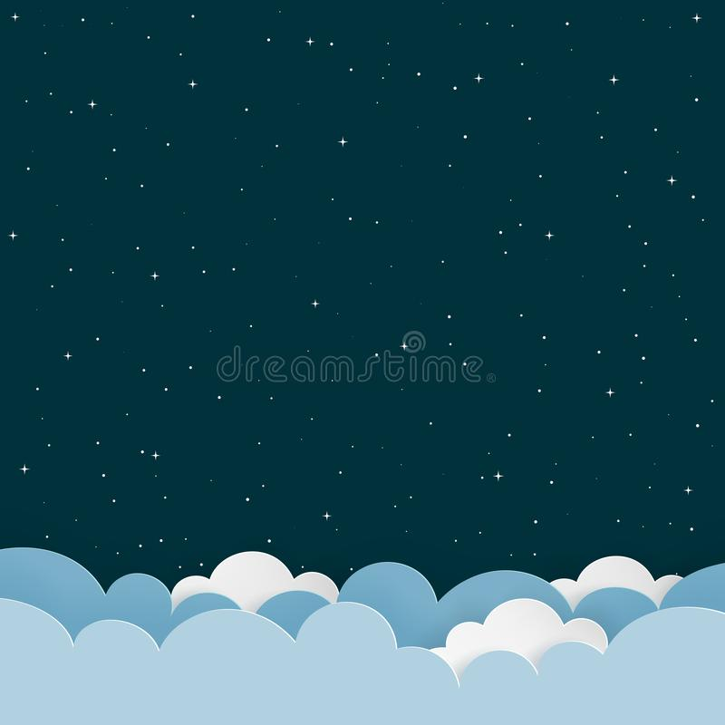 Dark night sky background with paper clouds and stars. Blank space background with copy-space. royalty free illustration