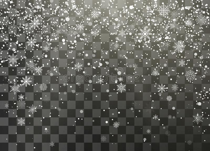Dark nignt holiday snowfall isolated on transparent background. Falling snowflakes. Christmas and New Year decorative element. Vector illustration stock illustration