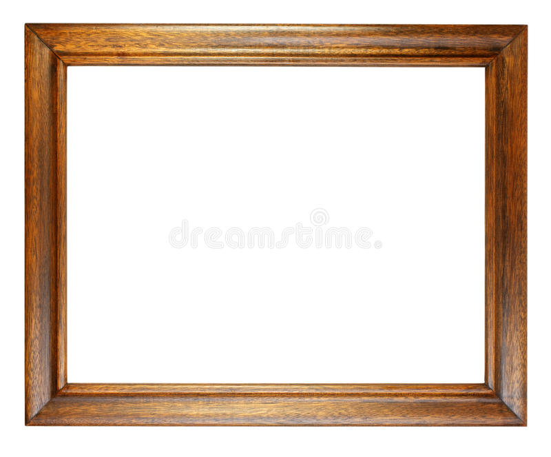 Dark Oak Picture Frame. Simple, old, dark oak picture frame isolated on white stock photos