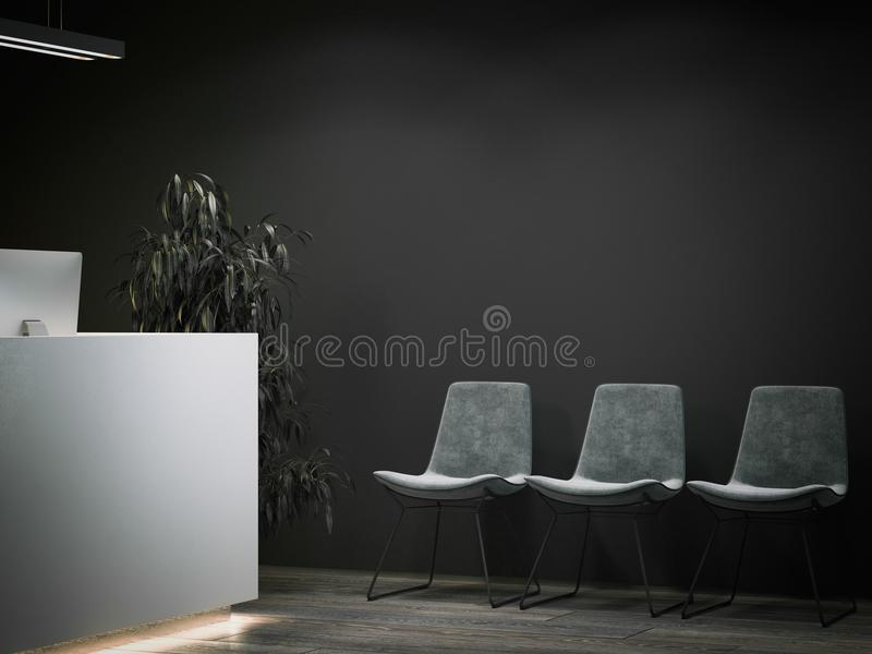 dark office reception with waiting area 3d rendering stock image