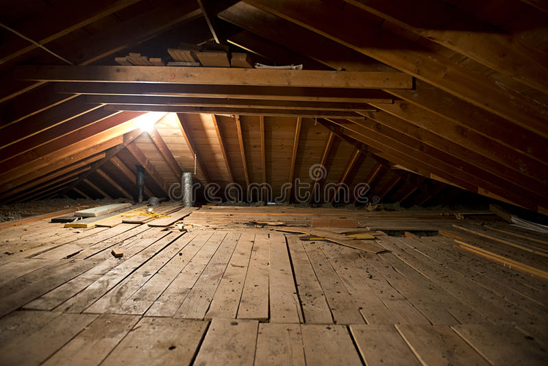 Dark Old Dirty Musty Attic Space In House Or Home Stock