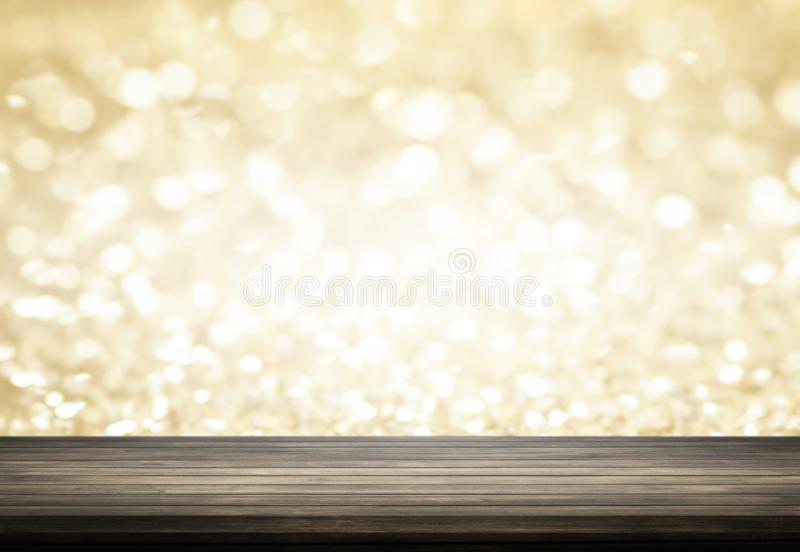 dark old grung floor wood table background on gold bokeh backg royalty free stock photos