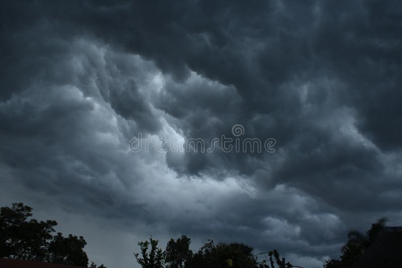 STORM CLOUDS ABOVE TREES royalty free stock photo