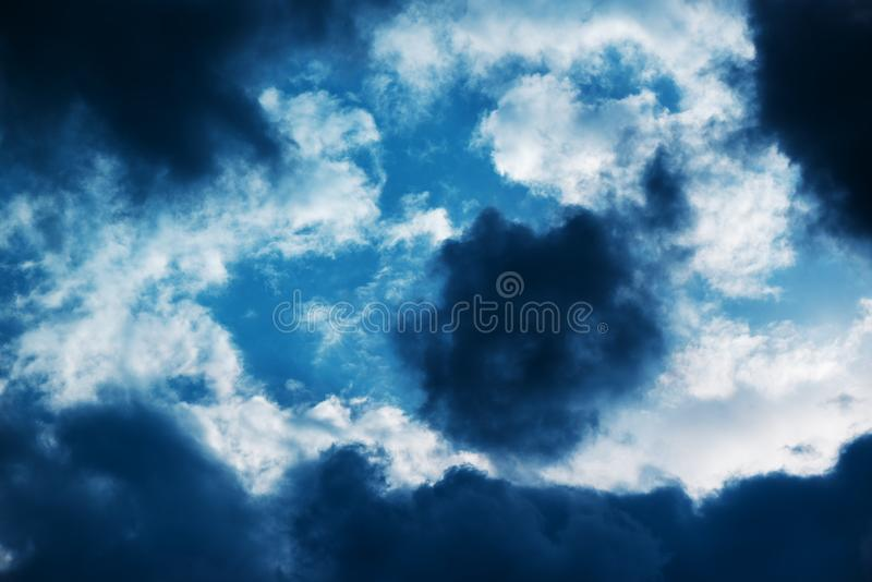 Dark ominous storm clouds. In the sky royalty free stock image