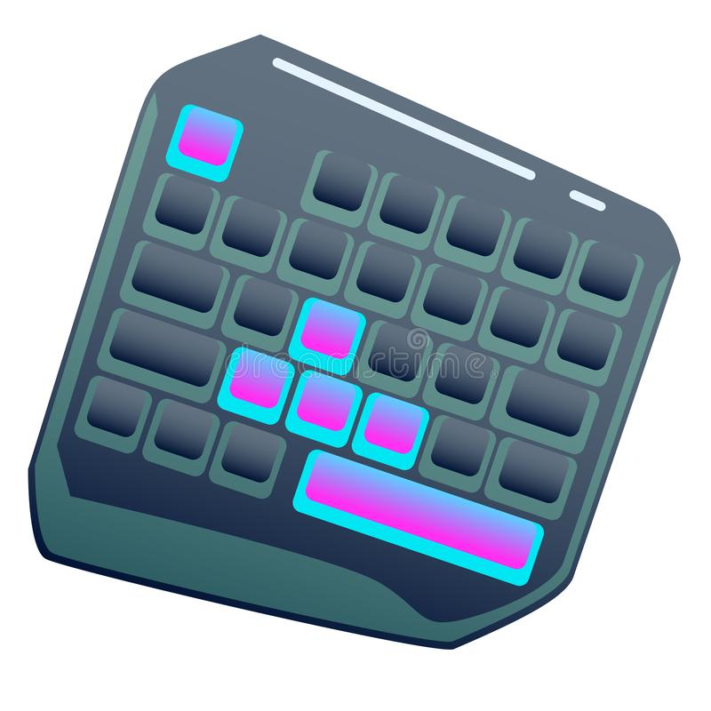 Dark One Hand Gaming Keyboard, Gaming keypad, Mini Gaming Keyboard on isolated background, bright flat icon vector illustration