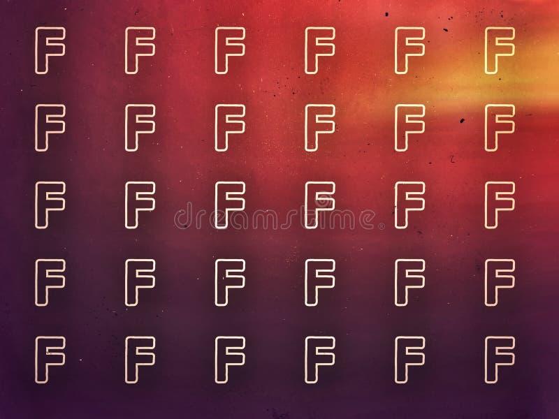 Dark orange color light background the english letter F stock illustration