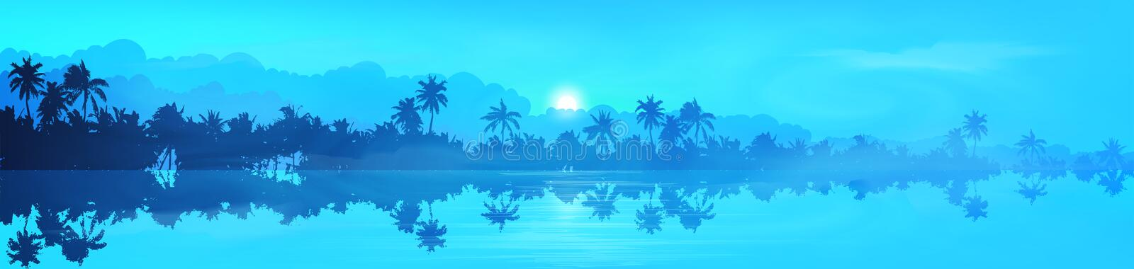 Dark palm trees silhouettes with water reflection in fog, blue vector tropical banner background.  royalty free illustration