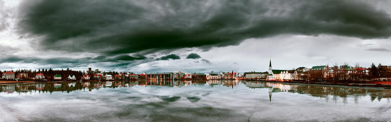 Dark panorama Reykjavik royalty free stock photos