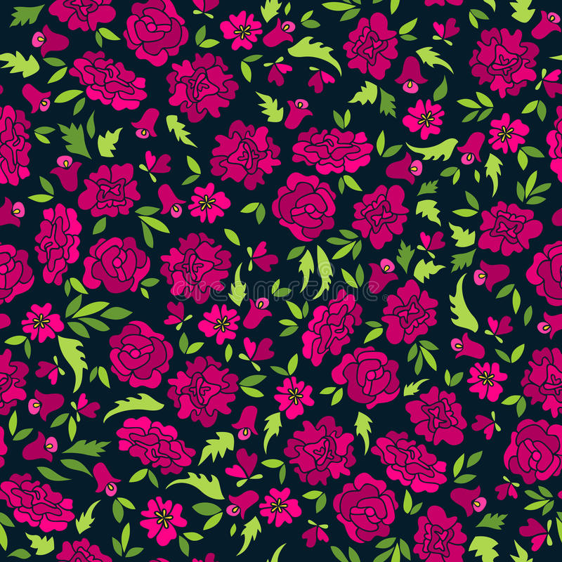 Dark Pattern With Abstract Flowers. Seamless pattern with flowers and leaves. Floral textile background. Can be used for printing, fabrics, paper or scrap royalty free illustration