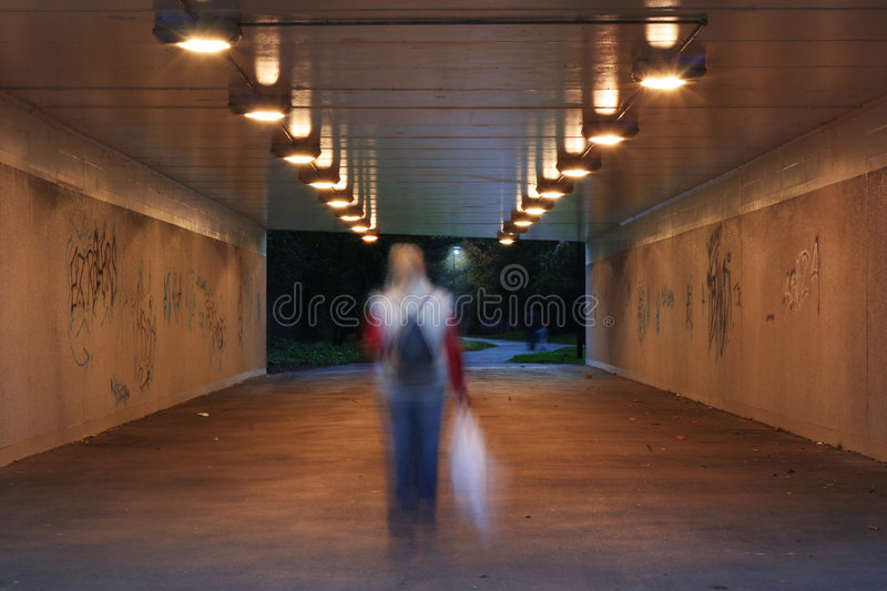 Dark pedestrian subway royalty free stock photo