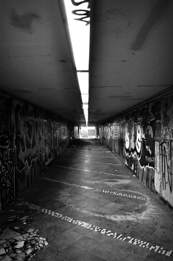 Dark pedestrian underpass stock photography