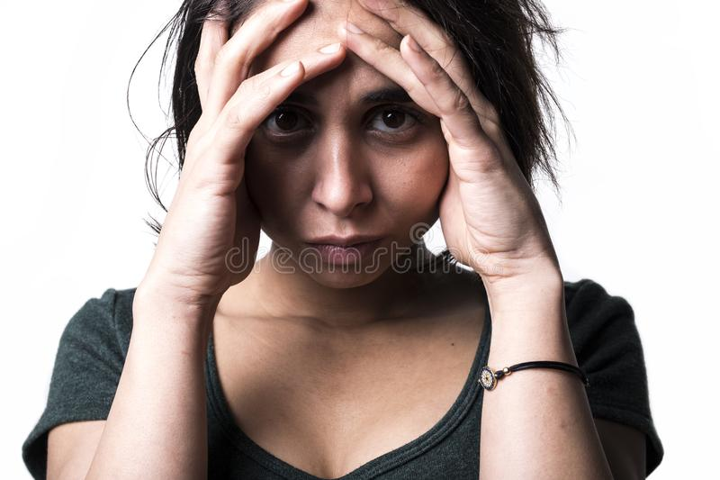 Dark portrait woman depress. A dark portrait of a depress woman royalty free stock photo