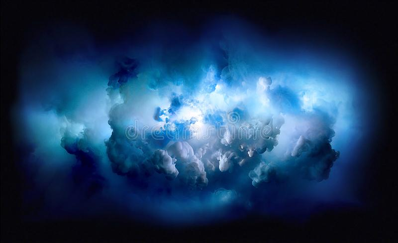 Dark powerful blue sky with stormy clouds with space to add text stock illustration