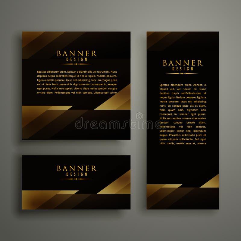Dark premium golden template banner card design vector illustration
