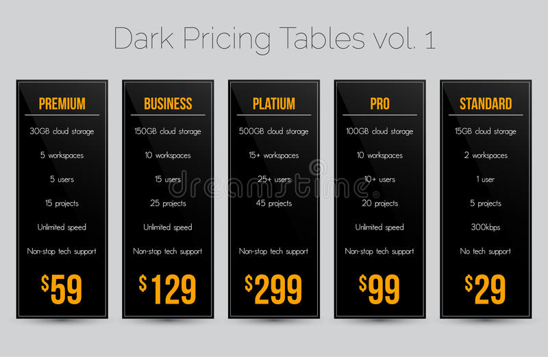 Dark pricing tables - set of five price banner templates suitable for web and e-shops stock illustration