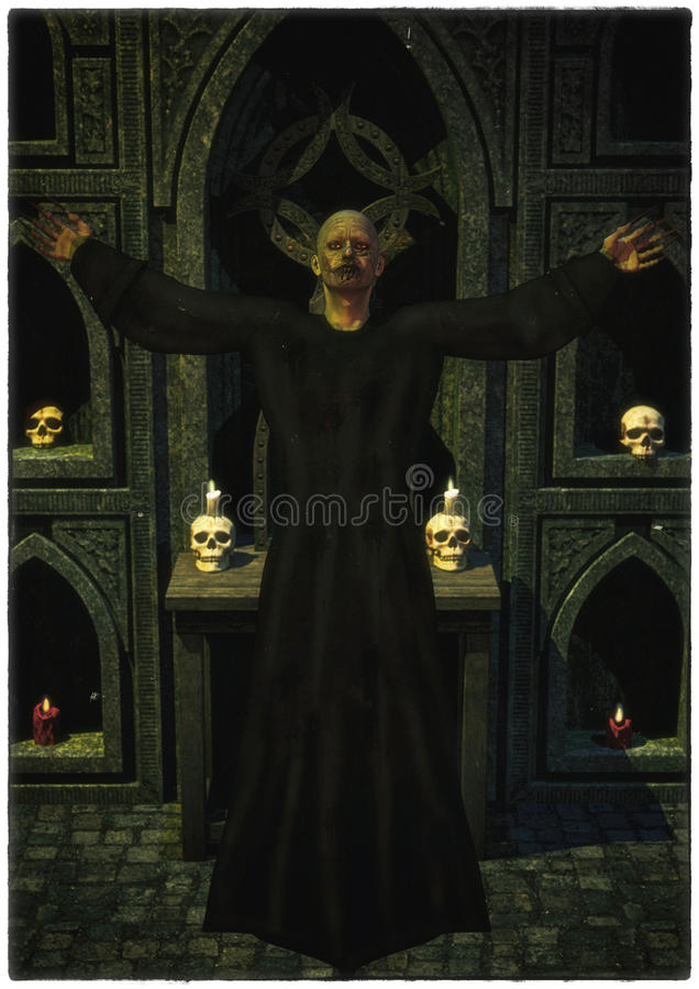 Dark Priest. Fantasy dark priest in a temple with skulls and candles stock illustration