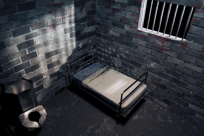 Dark prison cell at night stock photos