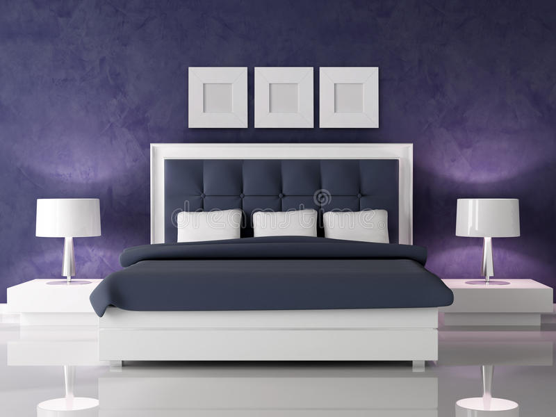 Dark Purple Bedroom Royalty Free Stock Photos