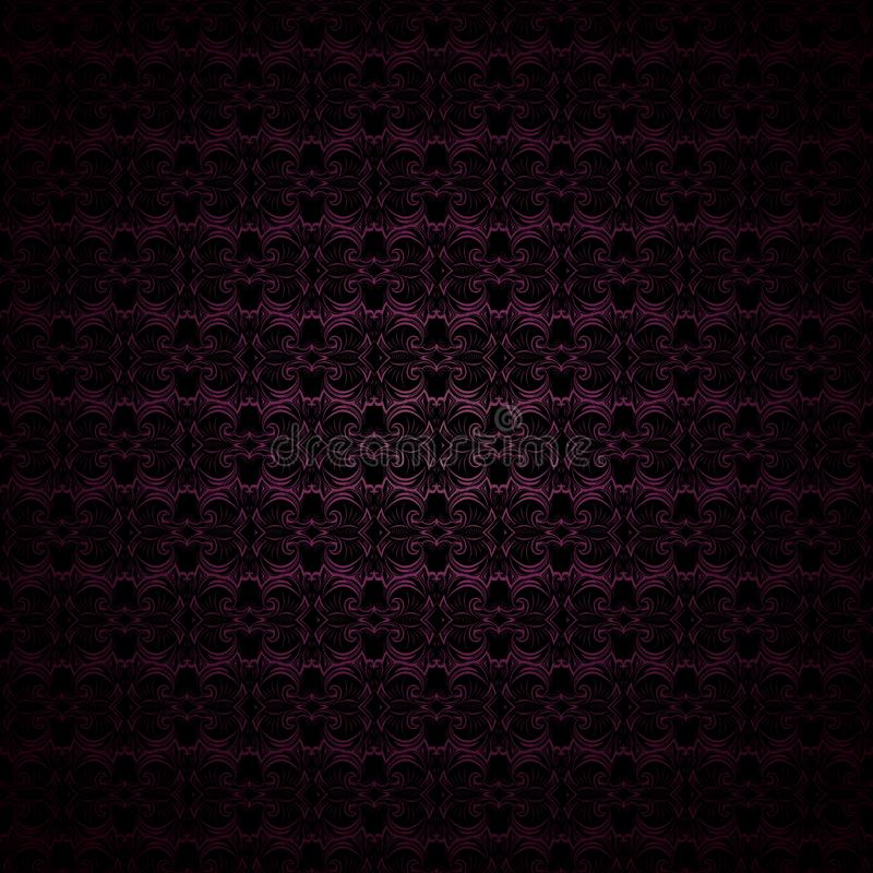 Dark purple and black vintage background, royal with classic Baroque pattern, Rococo. With darkened edges background, card, invitation, banner. vector royalty free illustration
