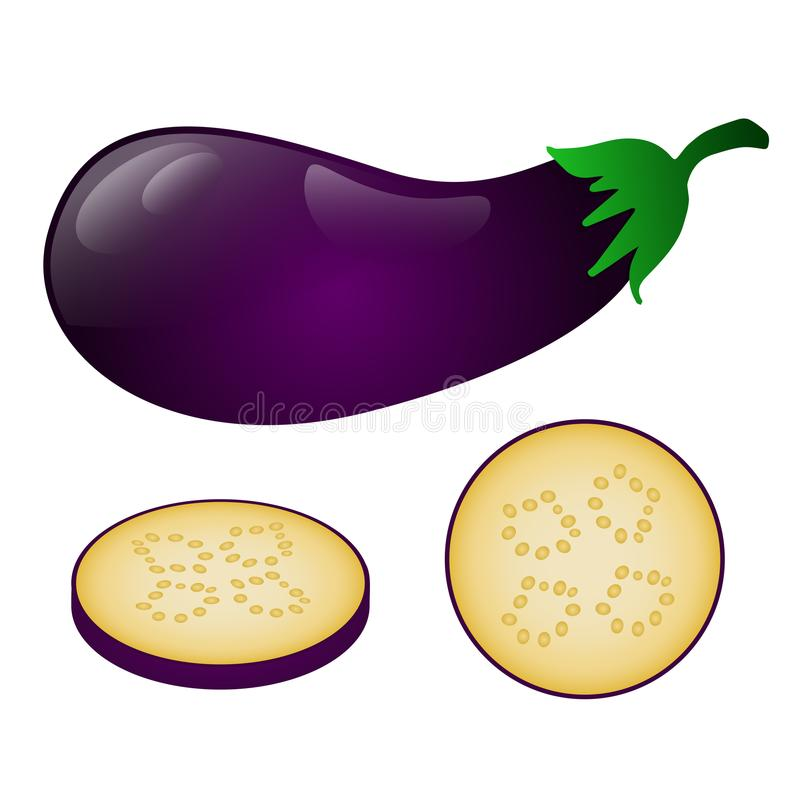 Dark purple eggplant and its pieces isolated on white background stock photos